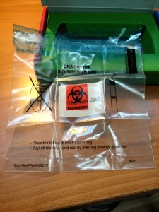 Here's the biohazard bag to put the tube into.
