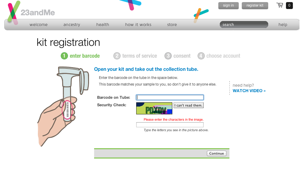 Okay, type in the barcode from the tube and an annoying CAPTCHA...