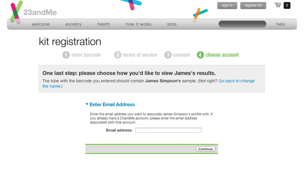 Setting up the account using email as an index…