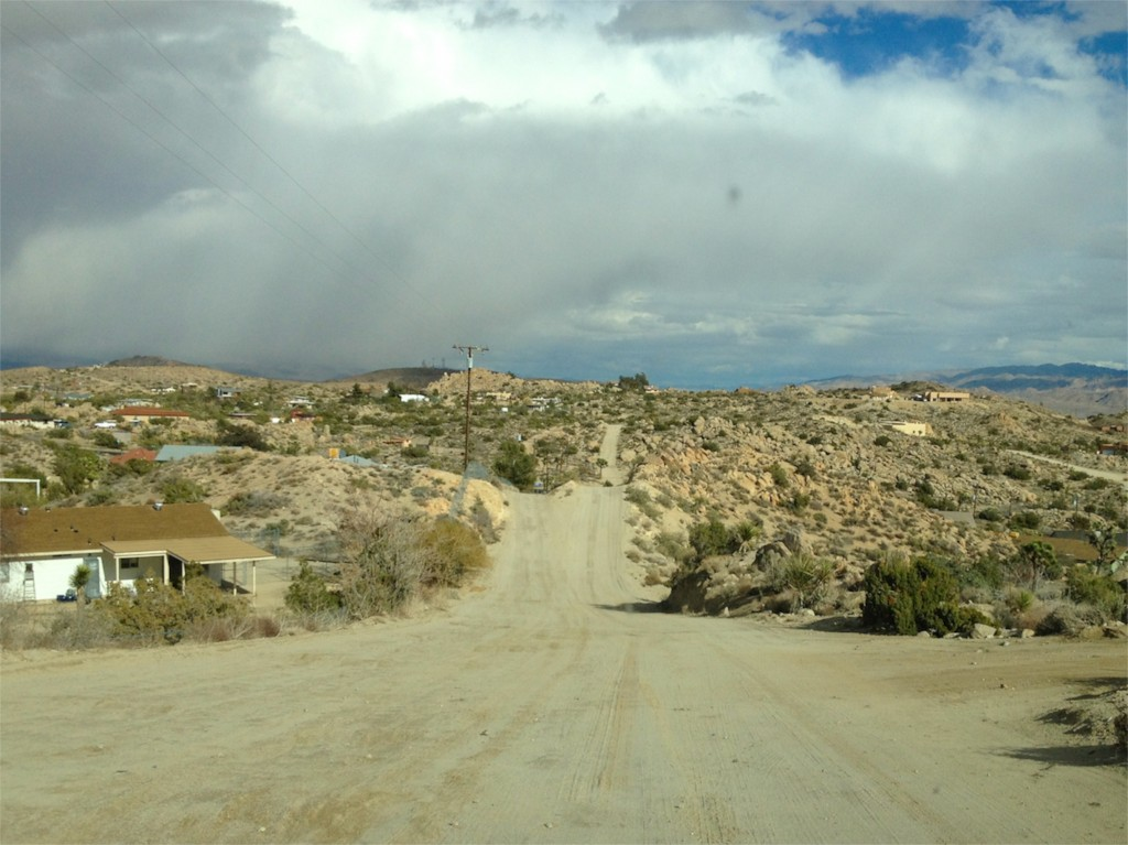 The road to the house in Yucca Valley.